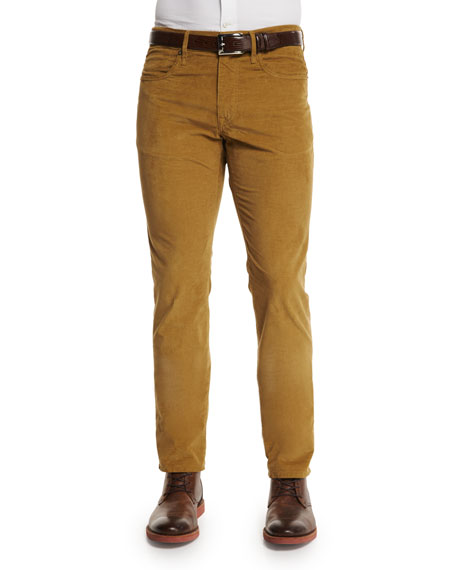 Incotex Ray Washed Moleskin Slim-Fit Pants, Gold
