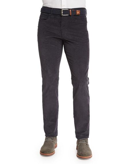 Incotex Ray Washed Moleskin Slim-Fit Pants, Charcoal