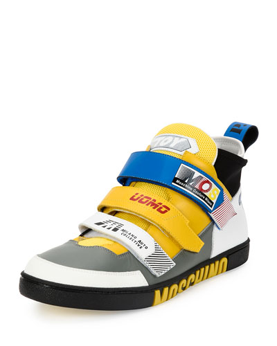 Racer Multi-Strap Leather Mid-Top Sneaker, Multicolor