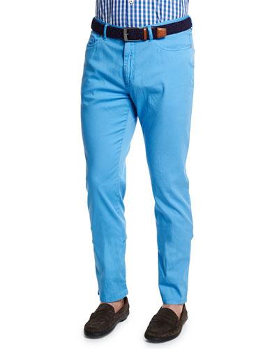 Five-Pocket Stretch-Cotton Pants, Blue