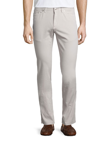 Peter Millar Five-Pocket Stretch-Cotton Pants, Ivory