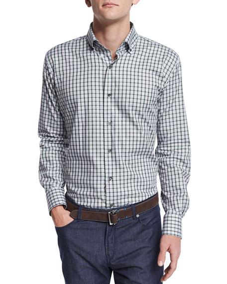 Peter MillarVecchio Check Long-Sleeve Sport Shirt, Dark Gray