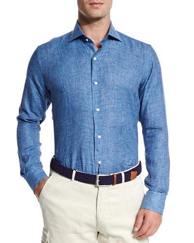 Catalina Linen Chambray Shirt, Blue