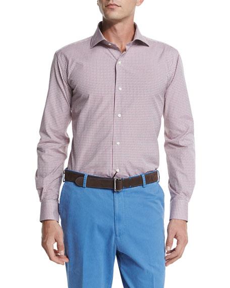 Peter Millar Multi-Check Long-Sleeve Sport Shirt, Red
