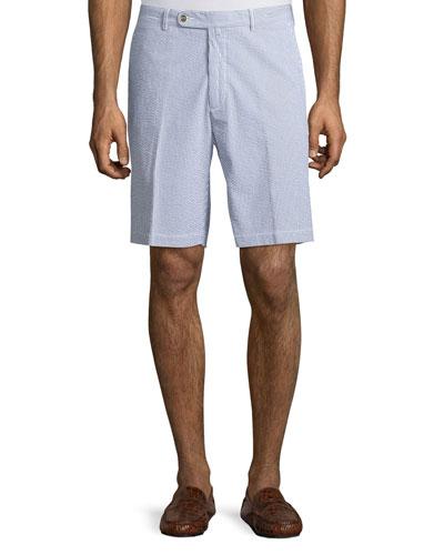 Seersucker Cotton Shorts, Gray Stripe