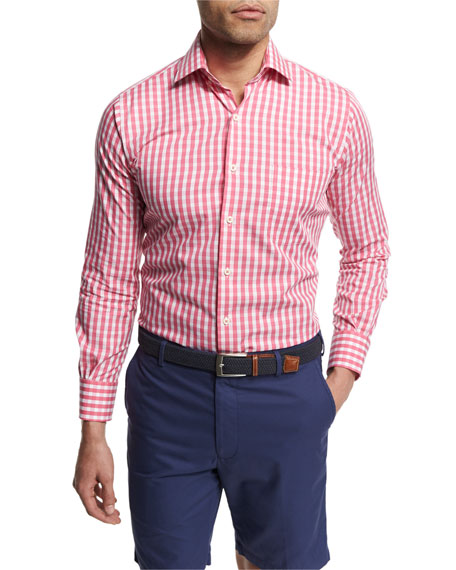 Peter Millar Seaside Collection Check Sport Shirt, Pink