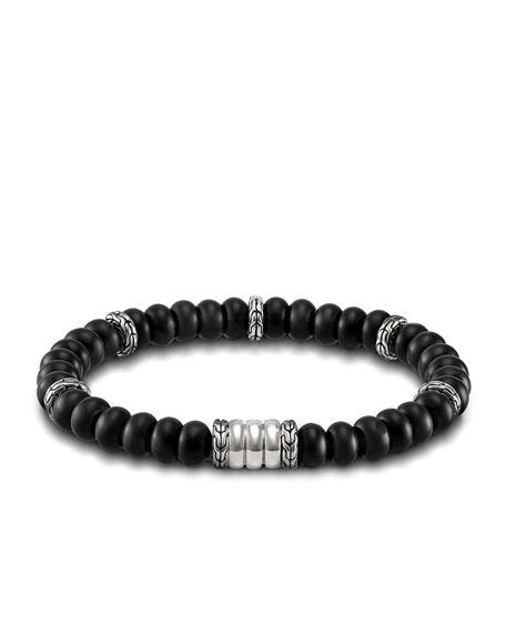 Batu Bedeg Men's Beaded Bracelet, Charcoal