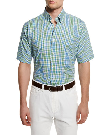 Peter Millar Check Short-Sleeve Woven Shirt, Green/Blue