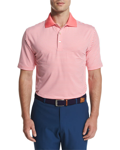 333a2f42921 Peter Millar Competition Stripe Stretch Jersey Polo Shirt, Coral