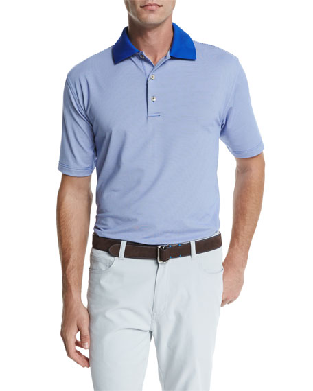 Peter Millar Jubilee Striped Short-Sleeve Jersey Polo Shirt,