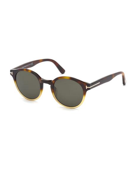 TOM FORDLucho Shiny Havana Round Sunglasses, Brown