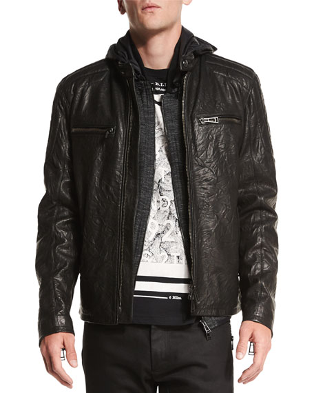 Belstaff Archer Coated Leather Jacket, Felton Marled Fleece