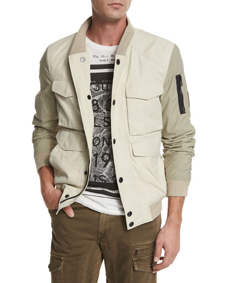 Ashvale Nylon-Cotton Bicolor Jacket, Natural White