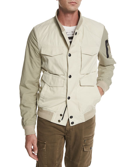 Belstaff Ashvale Nylon-Cotton Bicolor Jacket, Natural White