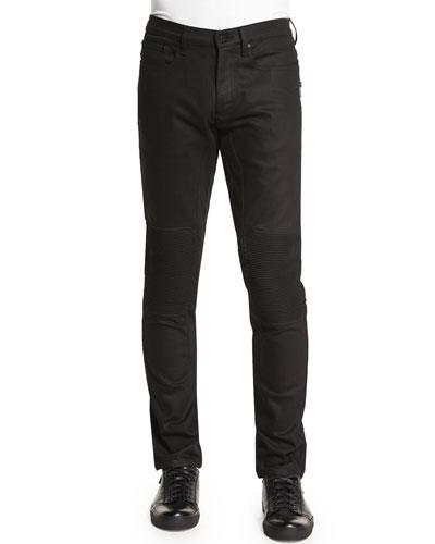 Blackrod Slim-Stretch Jeans with Knee Panels, Black
