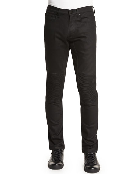 Belstaff Blackrod Slim-Stretch Jeans with Knee Panels, Black