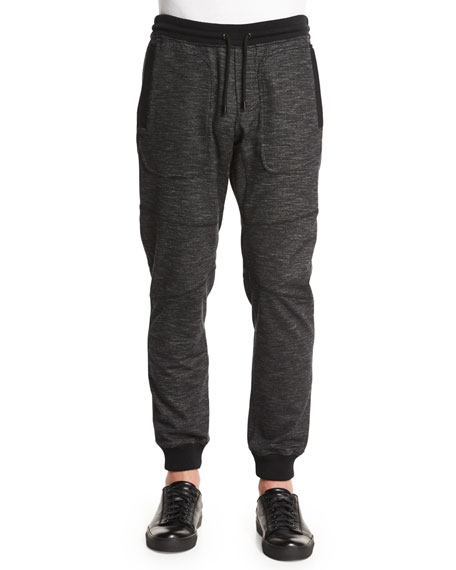Belstaff Marled Fleece Sweatpants, Black