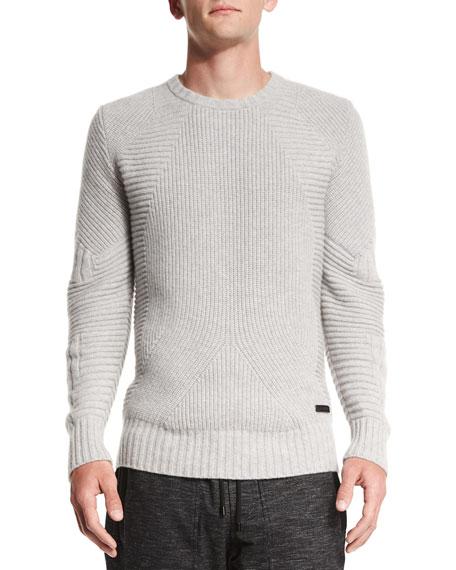 Belstaff Lincefield Textured Crewneck Sweater, Pale Gray Melange