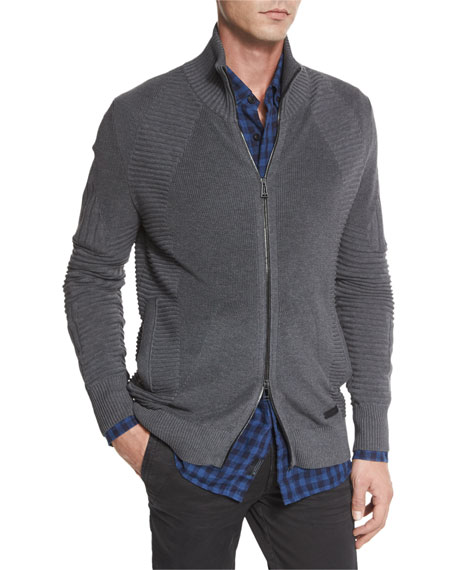 Belstaff Karson Multi-Stitch Zip-Up Jacket, Mid Gray Melange
