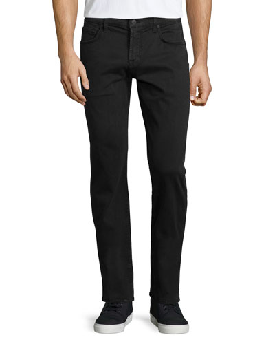 Luxe Performance: Straight-Leg Sateen Jeans, Charcoal