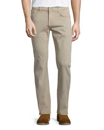 Luxe Performance: Straight-Leg Sateen Jeans, Light Khaki