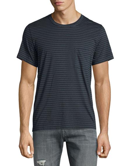 7 For All Mankind Feeder-Stripe Crewneck Short-Sleeve T-Shirt, Dark Gray