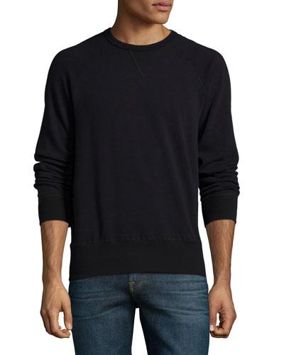 Crewneck Raglan-Sleeve Sweatshirt, Navy