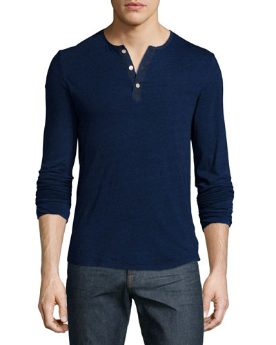 Long-Sleeve Cotton Henley Shirt, Indigo