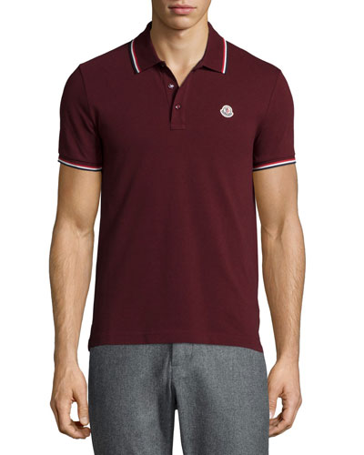 Short-Sleeve Tape-Tipped Polo Shirt, Burgundy