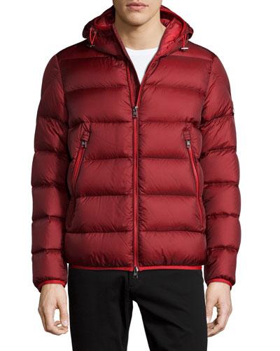 Chauvon Hooded Puffer Jacket, Burgundy
