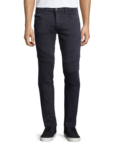 J Brand Jeans Bearden Skinny-Leg Moto Jeans, Storm