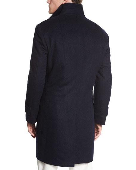 Brunello Cucinelli Button-Down Wool Car Coat, Navy