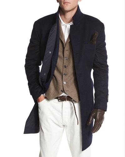 Button-Down Wool Car Coat, Navy