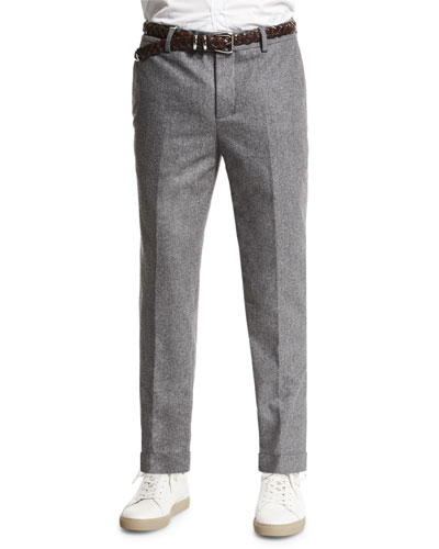 Flat-Front Flannel Trousers, Dark Gray