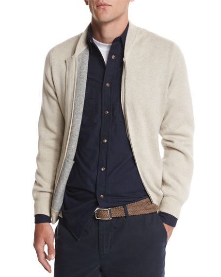 Brunello Cucinelli Double-Face Cashmere Zip-up Sweater, Gray