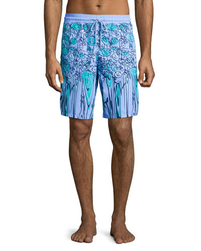 Okoa Happy-Face Printed Boardshorts, Blue