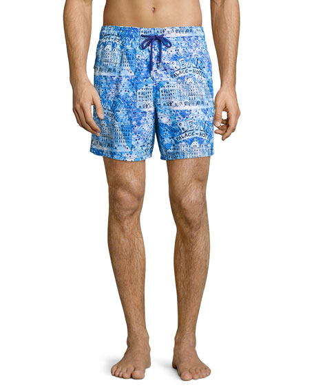 Vilebrequin Moorea Hotel-Print Swim Trunks, Blue Pattern