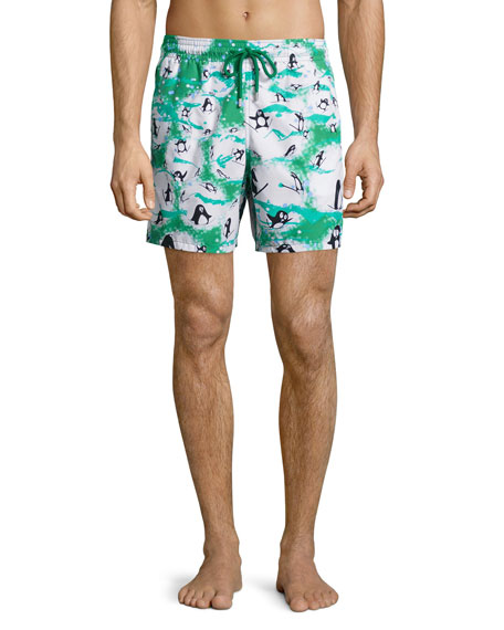 Vilebrequin Moorea Happy Penguin-Print Swim Trunks