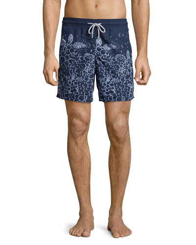 Moorea Bubble-Print Swim Trunks, Blue Marine