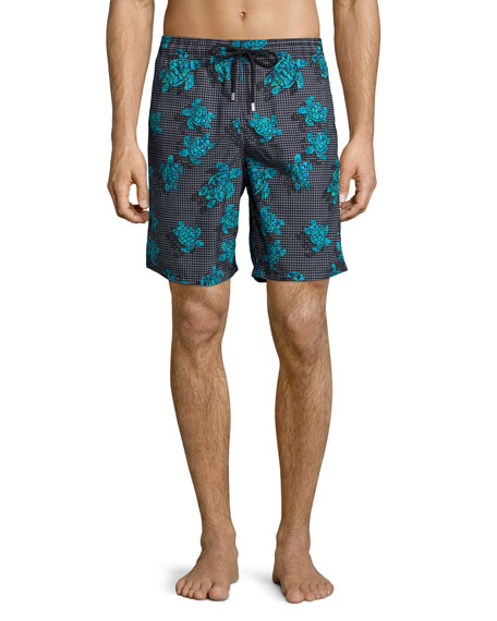 Vilebrequin Okoa Sea Reflection Printed Swim Trunk, Black