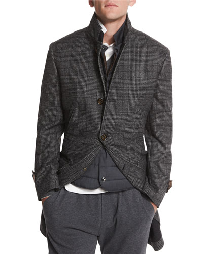 Plaid Single-Breasted Overcoat, Gray