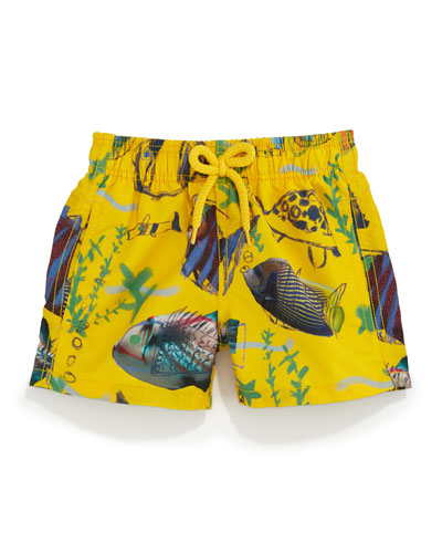 Jim Moon Fish Multi-Print Swim Trunks, Boys' 2-8