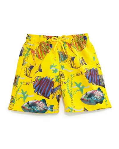 Jim Moon Fish Multi-Print Swim Trunks, Boys' 10-14