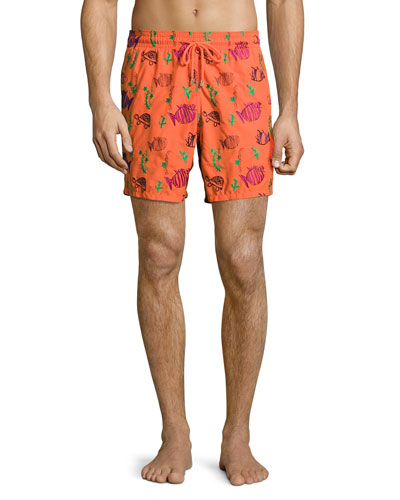 Mistral Moonfish-Embroidered Swim Trunks, Clementine