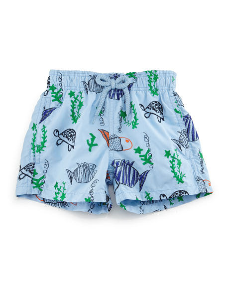 Vilebrequin Jim Embroidered Moonfish Swim Trunks, Blue, Boys'