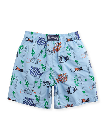 Vilebrequin Jam Mistral Embroidered Swim Trunks, Blue Ciel,