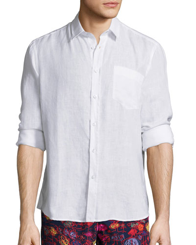 Linen Long-Sleeve Shirt, White