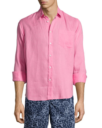Linen Long-Sleeve Shirt, Pink