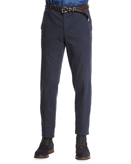 Brunello Cucinelli Flat-Front Cotton Pants, Ink