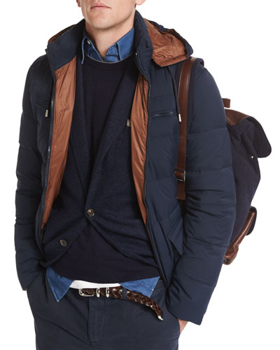 Hooded Nylon Down-Filled Jacket, Navy